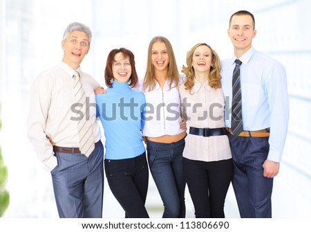 Group of businessmen discussing income. - stock photo