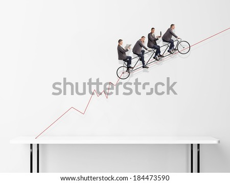 Group of businessmen on bicycle. Concept of teamwork. - stock photo