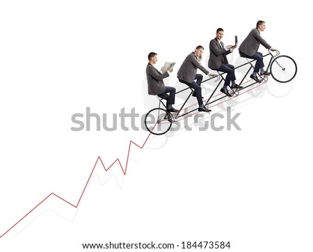 Group of businessmen on bicycle. Teamwork concept. - stock photo