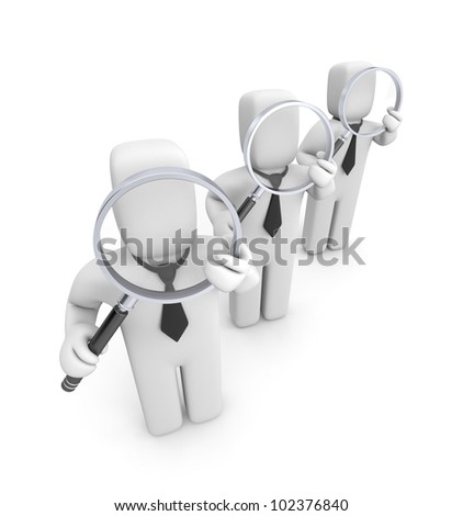 Group of businessmen with magnifying glasses. Audit. Image contain clipping path - stock photo