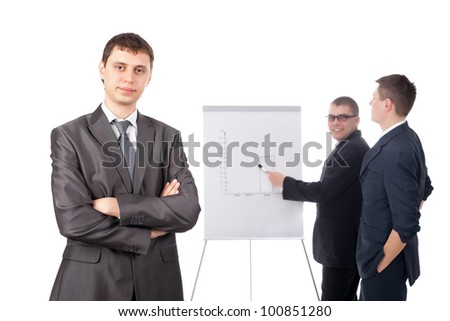 Group of businesspeople and a flipchart isolated on white background - stock photo
