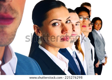 Group of businesspeople standing over white background - stock photo