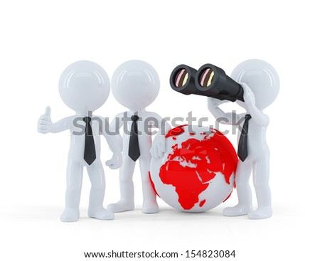 Group of businesspeople with globe and binoculars. Isolated on white - stock photo