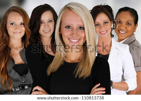 Group of Businesswoman standing in their office - stock photo
