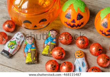 Group of candies for Halloween. Holiday background.