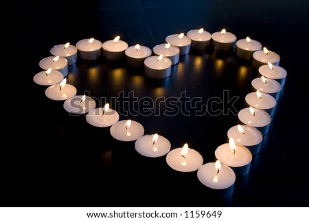 Group of Candles place in the shape of a heart