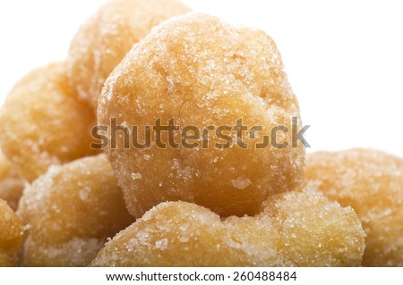 Group of carnival tortelli stuffed with custard  - stock photo