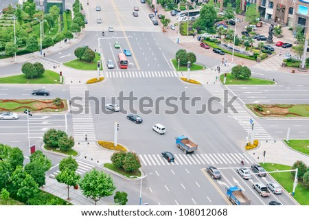 group of cars on the street road - stock photo