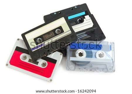 Group of cassette tapes on white background