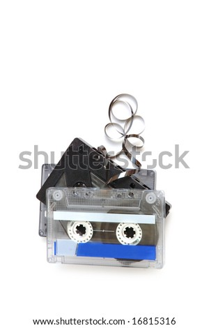Group of cassette tapes on white background - stock photo
