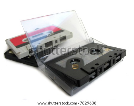 Group of cassette tapes with cassette box - stock photo