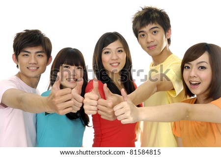 group of casual happy friends laughing and giving the thumbs-up sign. - stock photo