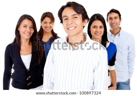 Group of casual people - isolated over a white background