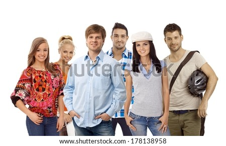 Group of casual young smiling people isolated on white. - stock photo