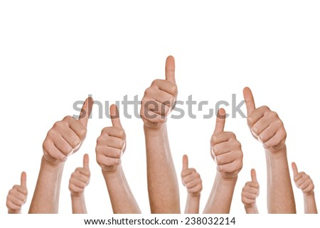 Group of caucasian white people making hand Thumbs up sign isolated on white background for like, approval or endorsement concept. - stock photo