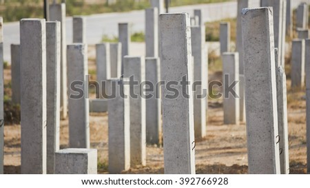 group of cement column for building foundation - stock photo