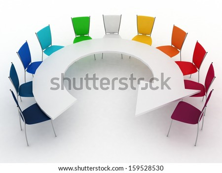 group of chairs stands at a table as an arrow - stock photo