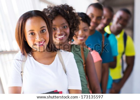 group of cheerful afro american college students