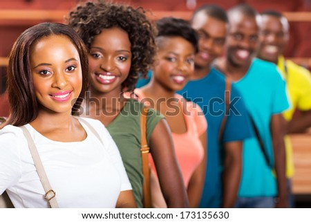 group of cheerful afro american college students - stock photo