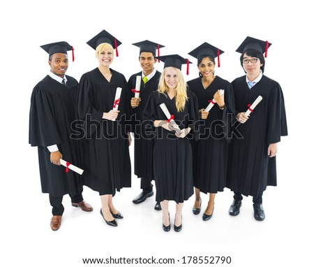 Group of Cheerful and Successful Graduating Students - stock photo