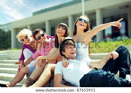 Group of cheerful friends - stock photo