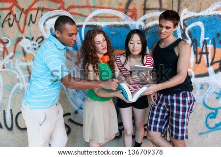 Group of cheerful friends. multi ethnic - stock photo