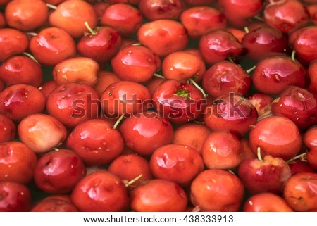 Group of Cherries forming a texture and background