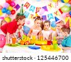 Group of child happy birthday party . - stock photo
