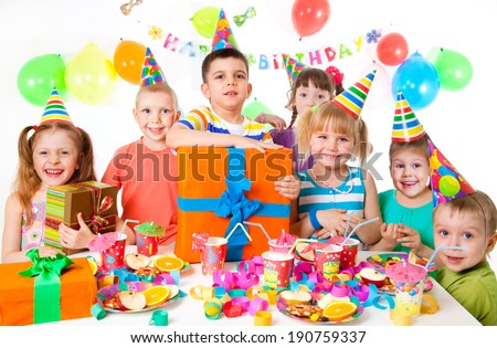 group of children at birthday party
