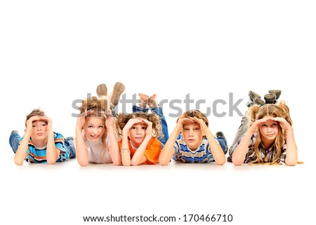 Group of children curiously looking into the distance. Isolated over white. - stock photo