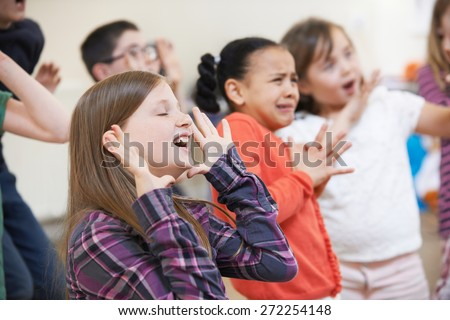 Group Of Children Enjoying Drama Class Together - stock photo