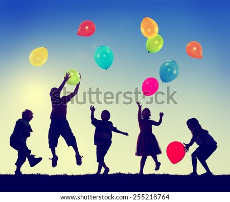 Group of Children Freedom Happiness Imagination Innocence Concept - stock photo