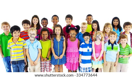 Group of Children Friends Smiling Happiness Concept - stock photo