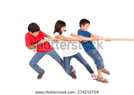 Group of children in a rope-pulling contest - stock photo