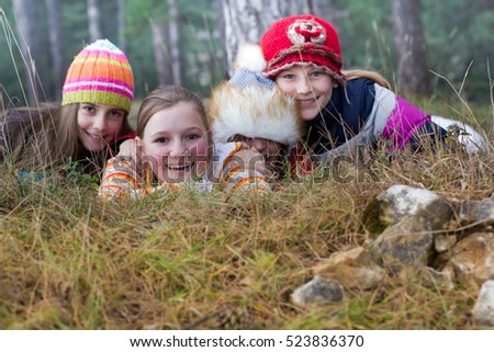 Group of children in forest
