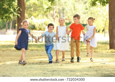 Group of children in park on sunny day