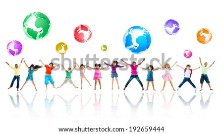 Group of Children Jumping - stock photo