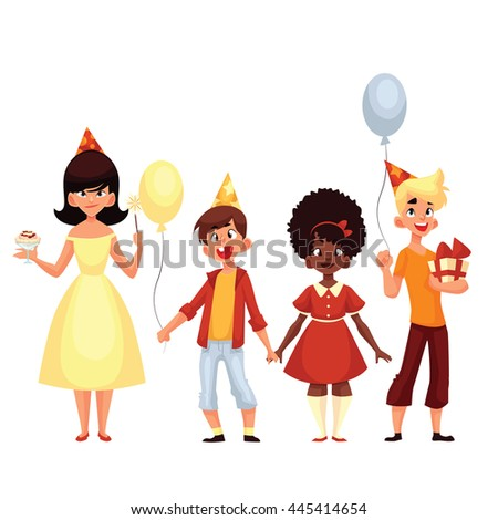 group of children on a holiday, cartoon comic illustration isolated on a white background, a few children on holiday with shaduvnymi balls and a gift, a birthday party or a baby with balls - stock photo