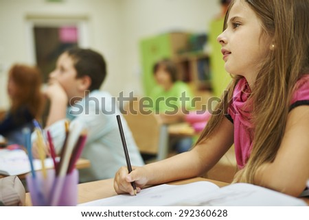 Group of children on the lesson  - stock photo