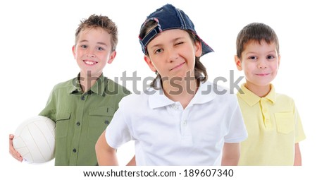 Group of children posing. Isolated on white background - stock photo