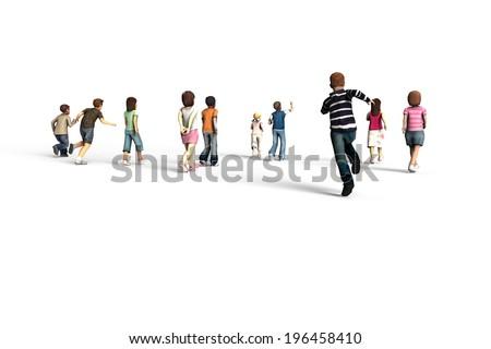 Group of children running, 3D rendering - stock photo