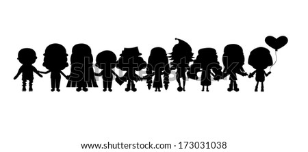 group of children's silhouettes - stock photo