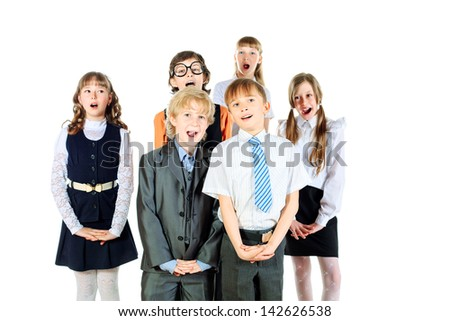 Group of children singing in the school choir. Isolated over white. - stock photo