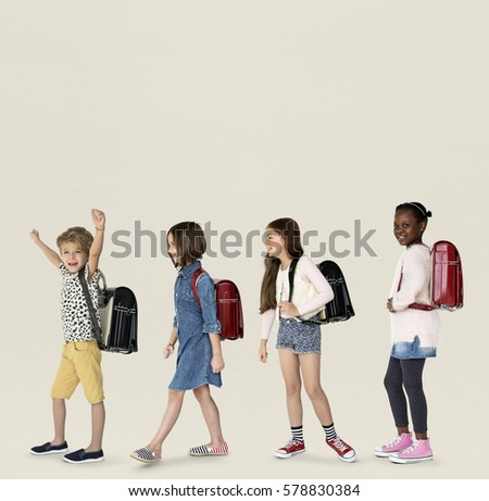 Group of Children Walking Concept