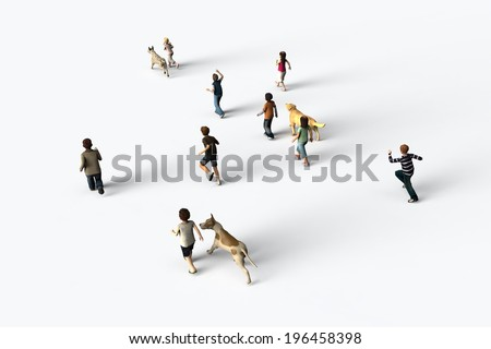 Group of children walking with dogs, 3D rendering - stock photo