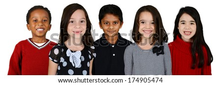 Group of children who standing together against a white background - stock photo