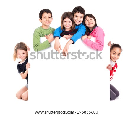 Group of children with a white board isolated in white - stock photo