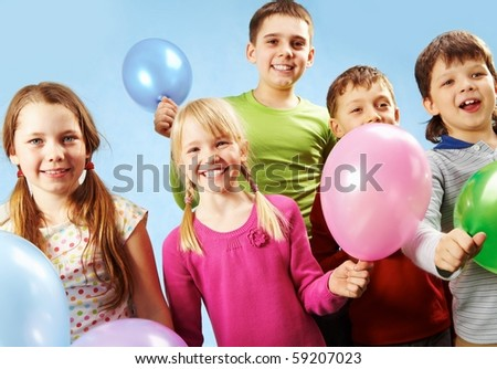 Group of children with balloons