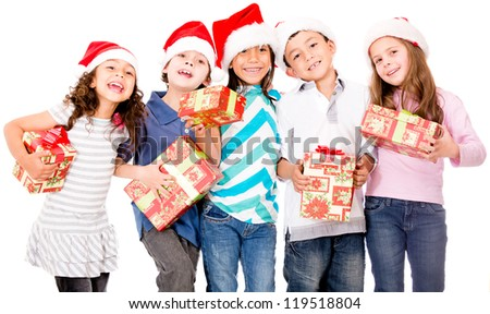 Group of children with Christmas presents - isolated over a white background - stock photo