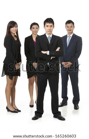 Group of Chinese business people. Business team Isolated on white background.